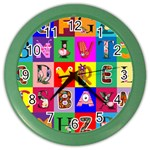 Alphabet Pattern Color Wall Clock Front
