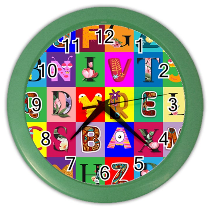 Alphabet Pattern Color Wall Clock