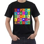 Alphabet Pattern Men s T-Shirt (Black) Front
