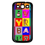 Alphabet Pattern Samsung Galaxy S3 Back Case (Black) Front