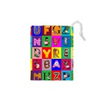 Alphabet Pattern Drawstring Pouch (XS) Front