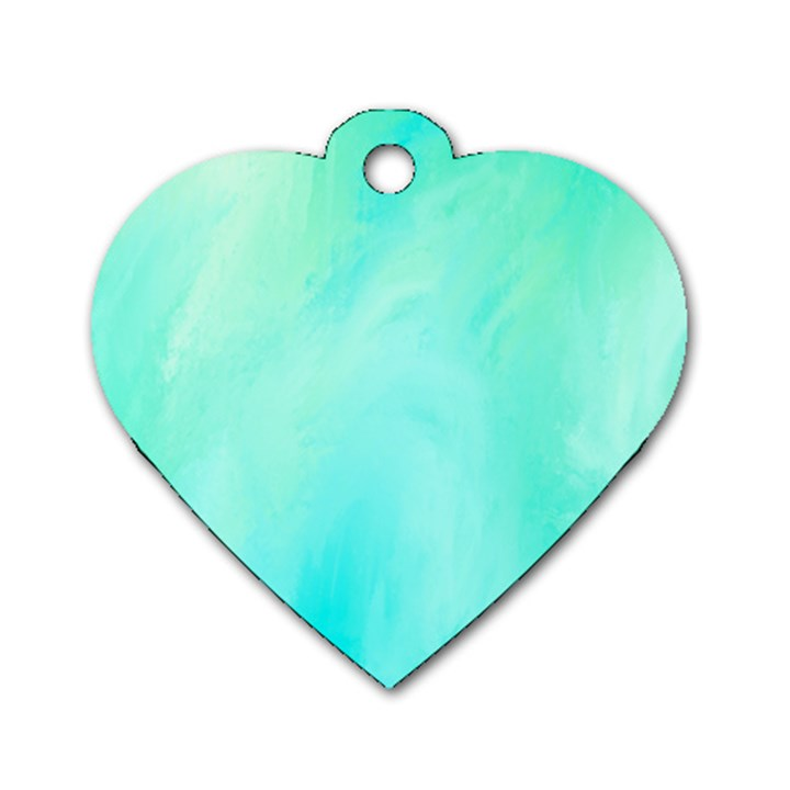 Blue Green Shades Dog Tag Heart (One Side)