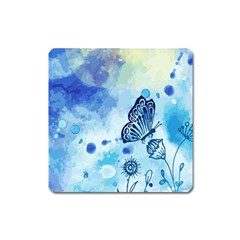 Blue Shaded Design Square Magnet by designsbymallika