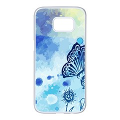 Blue Shaded Design Samsung Galaxy S7 Edge White Seamless Case by designsbymallika