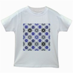 Pearl Pattern Floral Design Art Digital Seamless Blue Black Kids White T-shirts