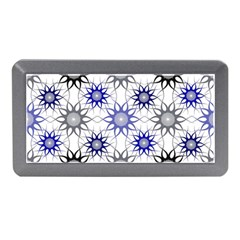 Pearl Pattern Floral Design Art Digital Seamless Blue Black Memory Card Reader (mini) by Vaneshart