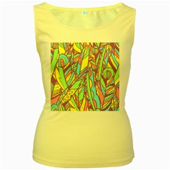 Feathers Pattern Women s Yellow Tank Top by Sobalvarro