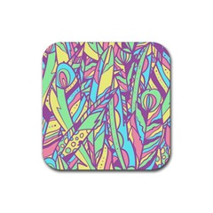 Feathers Pattern Rubber Square Coaster (4 Pack)  by Sobalvarro