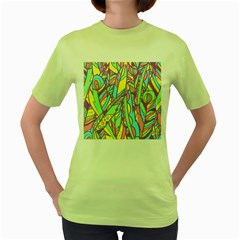 Feathers Pattern Women s Green T-shirt by Sobalvarro