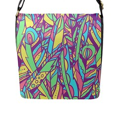Feathers Pattern Flap Closure Messenger Bag (l) by Sobalvarro