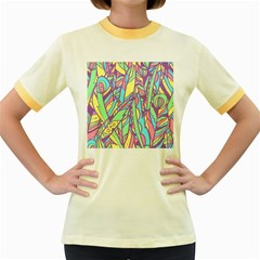 Feathers Pattern Women s Fitted Ringer T-shirt by Sobalvarro