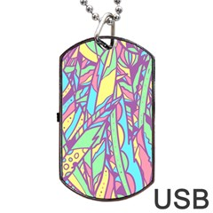 Feathers Pattern Dog Tag Usb Flash (two Sides) by Sobalvarro