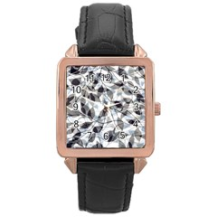 Leaves Pattern Colors Nature Design Rose Gold Leather Watch