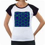 Seamless Pattern Pattern Purple Stars Women s Cap Sleeve T Front