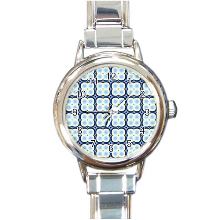 Pattern Design Art Scrapbooking Geometric Cubes Round Italian Charm Watch