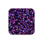 Christmas Paper Star Texture Rubber Coaster (Square)  Front