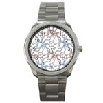 Pearl Pattern Floral Design Art Digital Seamless Sport Metal Watch Front