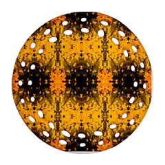 Pattern Wallpaper Background Yellow Amber Black Round Filigree Ornament (two Sides)
