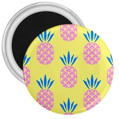 Summer Pineapple Seamless Pattern 3  Magnets by Sobalvarro