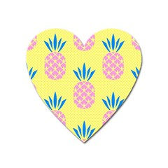 Summer Pineapple Seamless Pattern Heart Magnet by Sobalvarro