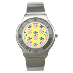Summer Pineapple Seamless Pattern Stainless Steel Watch by Sobalvarro