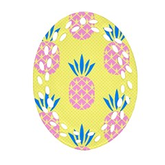 Summer Pineapple Seamless Pattern Oval Filigree Ornament (two Sides) by Sobalvarro