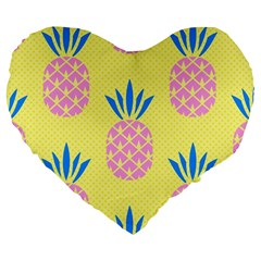 Summer Pineapple Seamless Pattern Large 19  Premium Heart Shape Cushions by Sobalvarro
