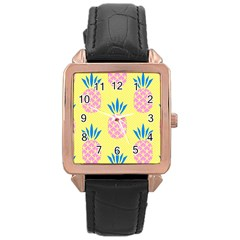 Summer Pineapple Seamless Pattern Rose Gold Leather Watch  by Sobalvarro