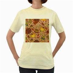 Thanksgiving Pattern Women s Yellow T-shirt by Sobalvarro
