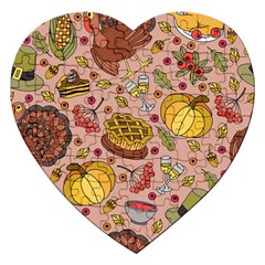 Thanksgiving Pattern Jigsaw Puzzle (heart) by Sobalvarro