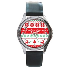 Ugly Christmas Sweater Pattern Round Metal Watch by Sobalvarro