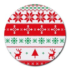 Ugly Christmas Sweater Pattern Round Mousepads by Sobalvarro