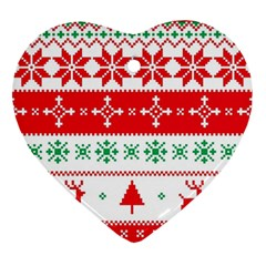 Ugly Christmas Sweater Pattern Ornament (heart) by Sobalvarro