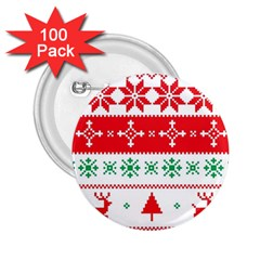 Ugly Christmas Sweater Pattern 2 25  Buttons (100 Pack)  by Sobalvarro