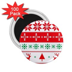 Ugly Christmas Sweater Pattern 2 25  Magnets (100 Pack)  by Sobalvarro