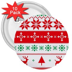 Ugly Christmas Sweater Pattern 3  Buttons (10 Pack)  by Sobalvarro