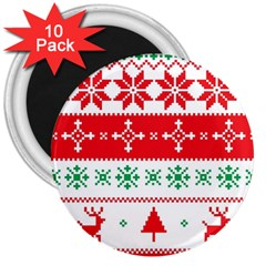 Ugly Christmas Sweater Pattern 3  Magnets (10 Pack)  by Sobalvarro