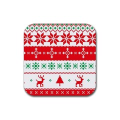 Ugly Christmas Sweater Pattern Rubber Coaster (square)  by Sobalvarro