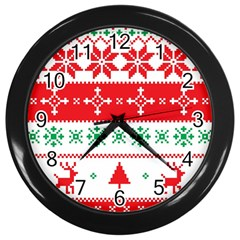Ugly Christmas Sweater Pattern Wall Clock (black) by Sobalvarro