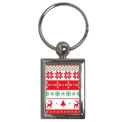 Ugly Christmas Sweater Pattern Key Chain (rectangle) by Sobalvarro