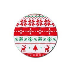 Ugly Christmas Sweater Pattern Rubber Round Coaster (4 Pack)  by Sobalvarro