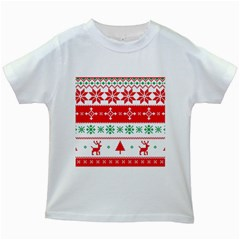 Ugly Christmas Sweater Pattern Kids White T-shirts by Sobalvarro