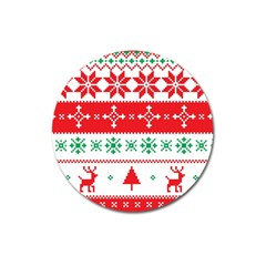 Ugly Christmas Sweater Pattern Magnet 3  (round) by Sobalvarro