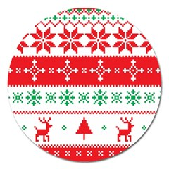 Ugly Christmas Sweater Pattern Magnet 5  (round) by Sobalvarro