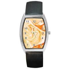 Orange Liquid Marble Barrel Style Metal Watch