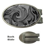 Black liquid marble Money Clips (Oval)  Front
