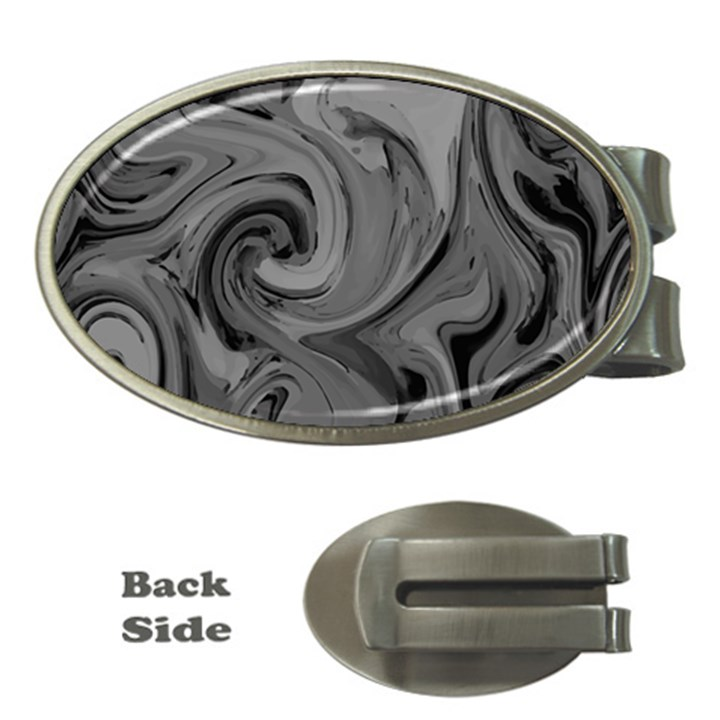 Black liquid marble Money Clips (Oval)