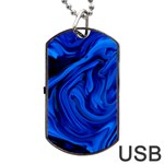 Blue liquid marble Dog Tag USB Flash (Two Sides) Front