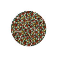 Colorful Modern Geometric Print Pattern Rubber Round Coaster (4 Pack)