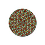 Colorful Modern Geometric Print Pattern Rubber Round Coaster (4 pack)  Front